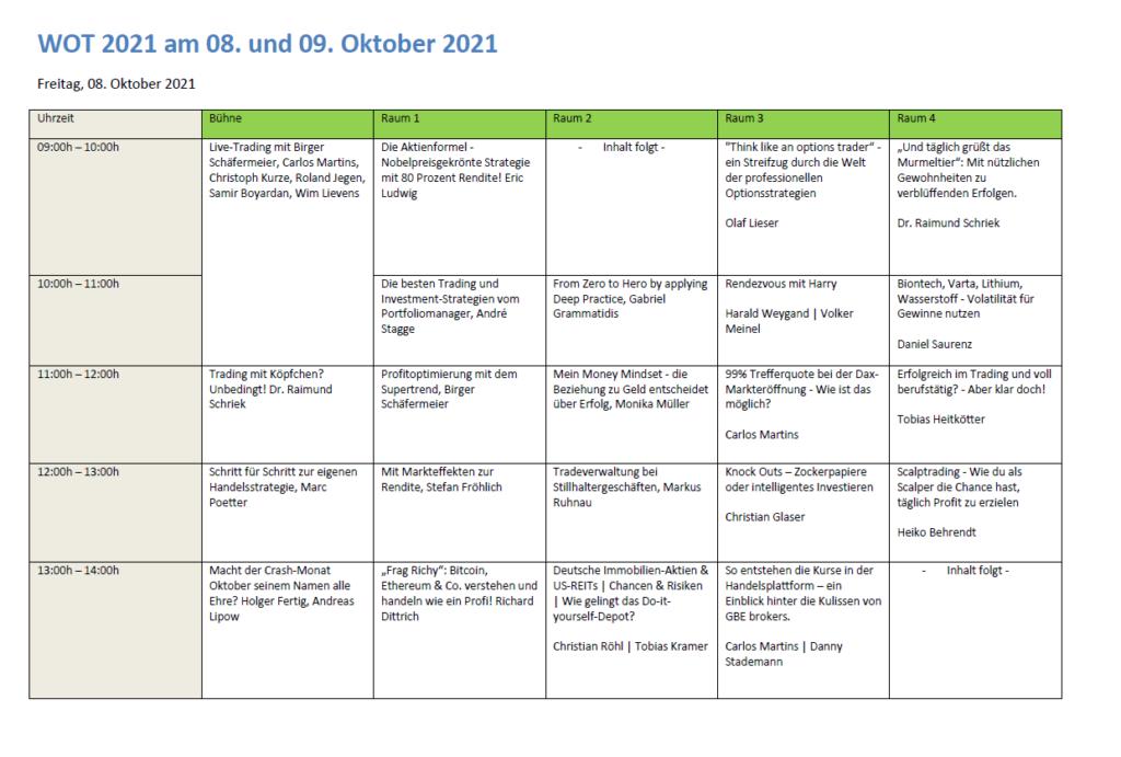 Mit dem WOT-Plan zum Ausdrucken und Rummalen ist man an beiden Messetagen  im Oktober 2021 immer auf dem Laufenden.
