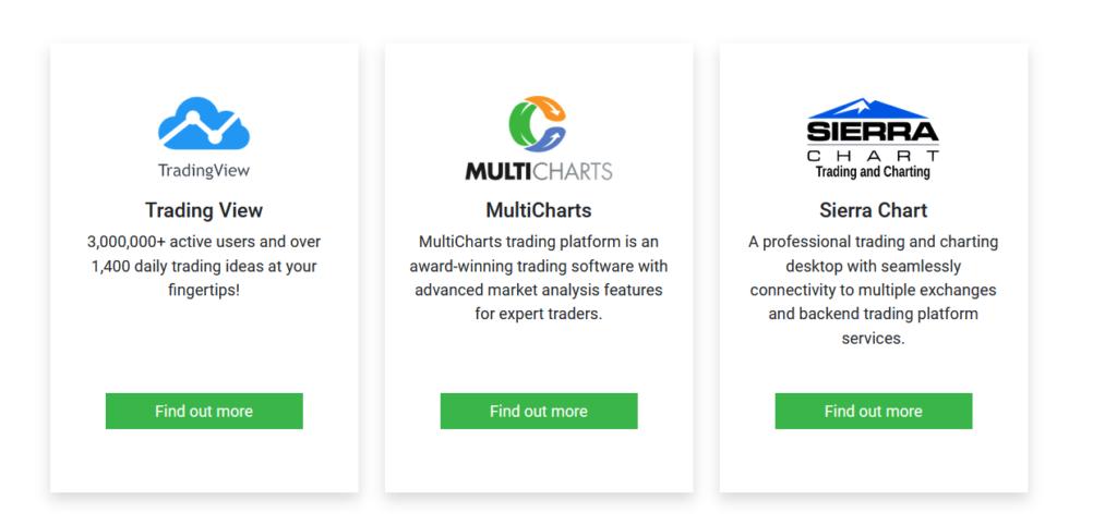 Die Auswahl an Handelsplattformen hat sich bei Tickmill stark verbessert. So kann der Trader nun zwischen CQG-Trader, Trading View, Multicharts und SierraChart wählen.